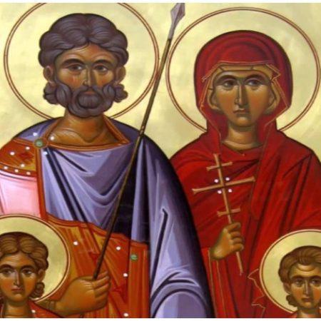 Άγιος Ευστάθιος και η συνοδεία του, Θεοπίστη η σύζυγος του, Αγάπιος και Θεόπιστος τα παιδιά του